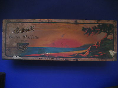 Vintage Carrs & Co. Ltd butter puffette biscuits 1920s sunset paper label tin UK