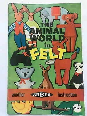 arbee vintage retro the animal world in felt instruction pattern booklet koala +