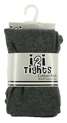 Girls grey thick knitted cotton rich tights ideal for school ages 2 to 10 years