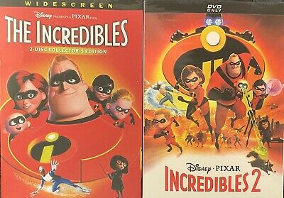 The Incredibles 1 and 2 (DVD Bundle, Disney/Pixar, Brand New) Free Shipping