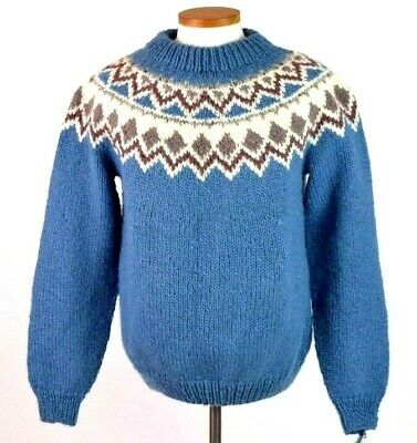 Vtg 90s NWT Deadstock Sweater Knit Chunky Wool Blue Nordic Jumper Mens Size L