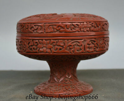 14CM Qianlong Marked Old China Red lacquerware Dynasty High legs landscape Box