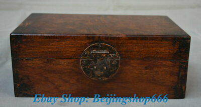 """11"""" Collect Old Chinese Huanghuali Wood Carving Jewelry box Case Casket"""