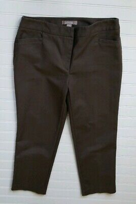 Chicos Womens Crop Capri Dress Pants 0.5 Small Brown Stretch Cotton