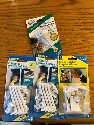 Safety 1st! 3pk SPRING Latches! 2/7pk Cabinet & Door Latches! Bonus thermometer