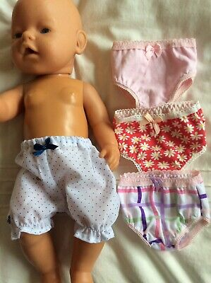 """Doll Clothes to fit 17"""" Baby Born doll ~ 4 X Knickers / Undies"""