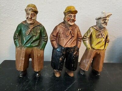 """4 1/2"""" Tall Hand Carved Wooden 3 PEASANTS Yellow Brown & GREEN SHIRT Hats"""