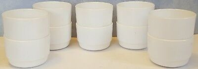 Lot of 10 ARCOPAL FRANCE white STACKABLE milk glass CUSTARD cups SOUP bowls