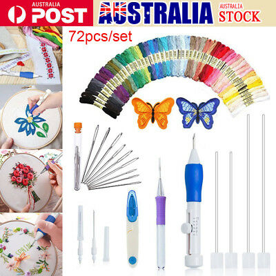73Pcs/Set Embroidery Pen Magic Knitting Sewing Tool Kits Punch Needle W/Threads
