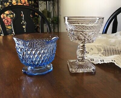 Mismatched Glass Dessert Dishes Short Goblet Blue Indiana Glass Candy Dish