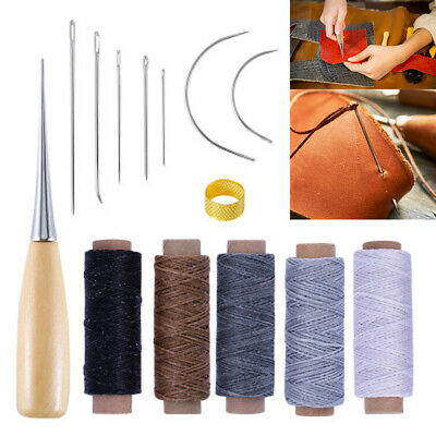AU*14Pcs Leather Craft Waxed Thread Cord Stitching Sewing Needle Shoe Repair Kit