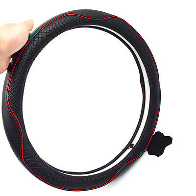"15"" For Car Leather Steering Wheel Cover Breathable An-ti Slip Grip High Quality"