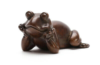 China Red Bronze Hand-Carved Contemplative meditation Frog Statue Collectible