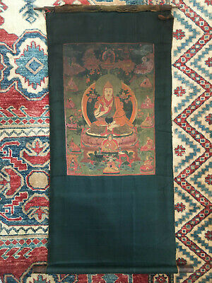 19th Century Mongolian Thangka Tsongkapa with Sidas & Gelug Lamas