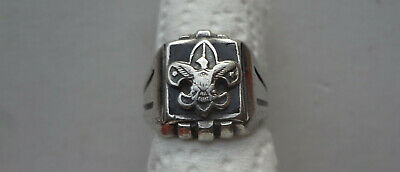c1940-50's STERLING SILVER BOY SCOUT RING marked SIZE 8 - BLACK ONYX