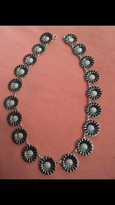 Georg Jensen Rare Authentic Daisy Sterling Silver Necklace Black  Enamel 18mm
