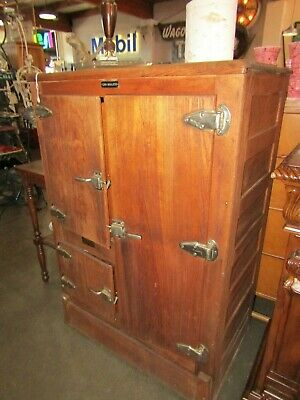 Antique Gold Medal Oak Pantry Ice Box Cabinet Refrigerator