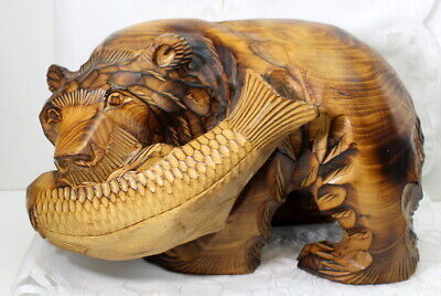 Bear With Salmon Carved Vintage Wood Wooden L7