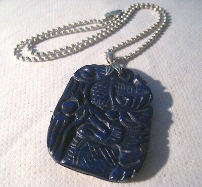 "Vintage Chinese Carved Lapis Lazuli Pendant 17 ¾"" Sterling Bead Chain"