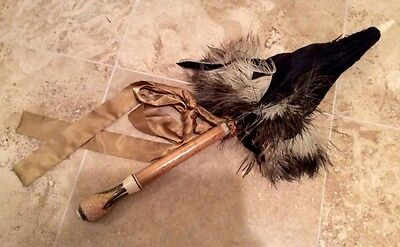 Stunning Vintage Paris Umbrella With Maple & Inlay Handle & Ostrich Feathers