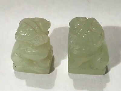Pair Of Antique Chinese Miniature White Jade Foo Dogs