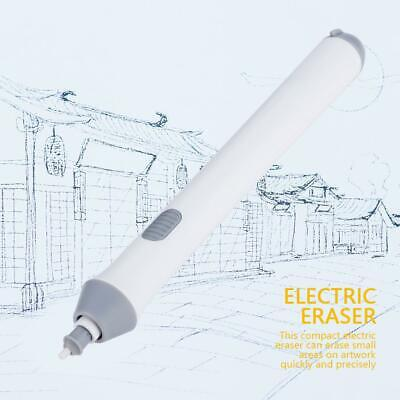 White Electric Pencil Eraser Kit With Rubber Refills Highlights Sketch Drawing