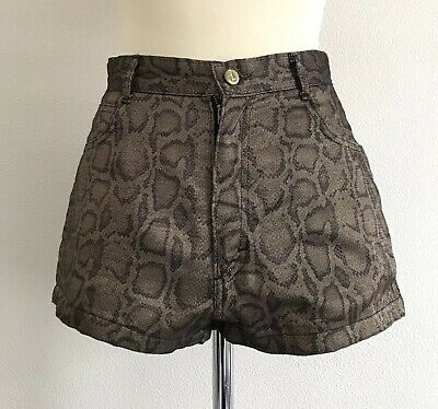 Vintage Gold Leopard-Print High Waisted Shorts - Small Opal by Lorraine Wardy