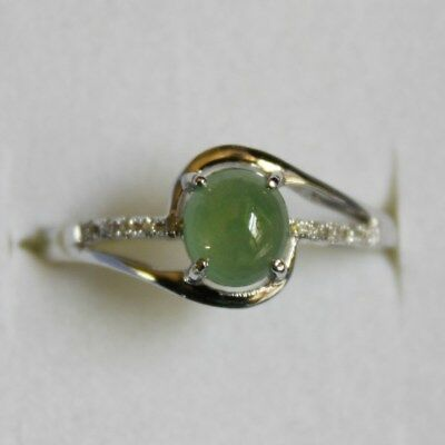 "Genuine Natural JADE Certified ""Grade A"" Icy Green Jadeite Cabochon Diamond Ring"