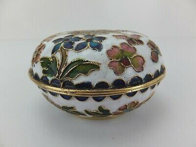 Vintage enamel inlaid trinket box, flowers and butterflies with gold gilding