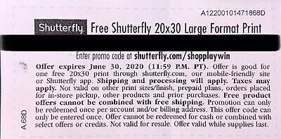 Shutterfly 20x30 Large Format Print. Code expires 06/30/2020