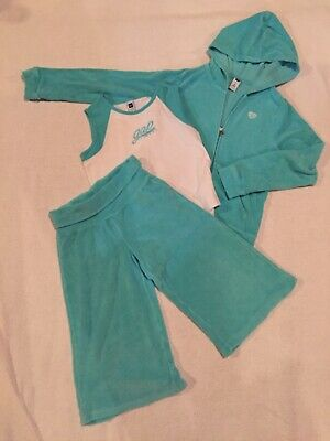 Girls GAP Kids 8 10 Terry 3pc Hoodie Capri & Shirt outfit SUPER CUTE!  EUC