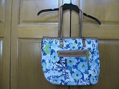 Rosetti Blue Floral Fabric Purse w/Double Handles, Front Pocket