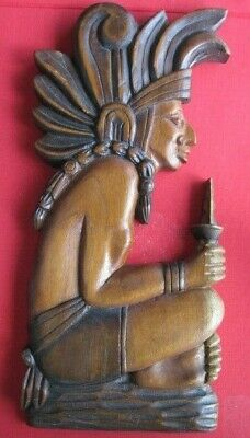 """2 Aztec Indian Native Tribal Hand Carve Wooden Plaques 15""""H X 6 1/2""""W X 1"""""""