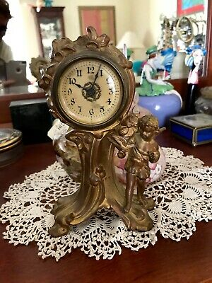 Antique Solid Brass CLOCK - Angel, Bird, Flowers FIGURAL - Wind Up - 8""