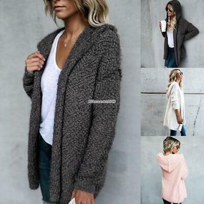 Womens Solid Cardigan Long Sleeve Hooded Chunky Cable Knitted Oversized Sweater
