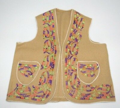 Vintage Kids Embroidered Vest Southwestern South Western Mexican Hippie Boho S