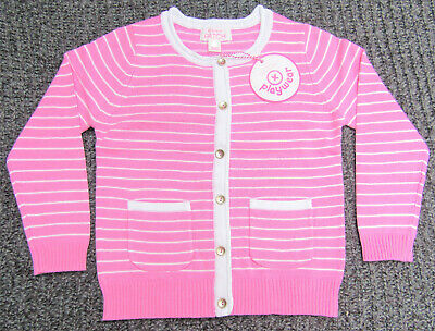Pumpkin Patch Girls Size 1 Wild Orchid Pink & White Striped Carly Rose Cardigan