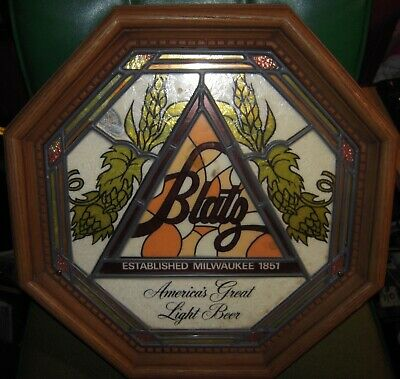 Vintage Blatz Beer Non Illuminated Stained Glass Wall Bar Sign