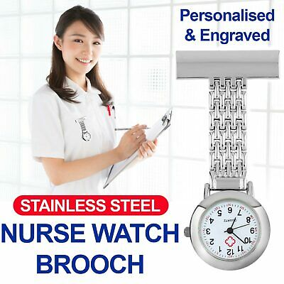 Stainless Steel Nurse Watch Brooch Tunic Fob Watches Pocket Pendant Quartz