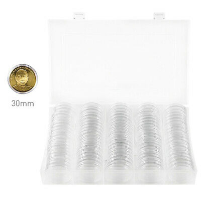 100* Coin Collection Cases Capsules Holder Applied Clear Round Album Storage