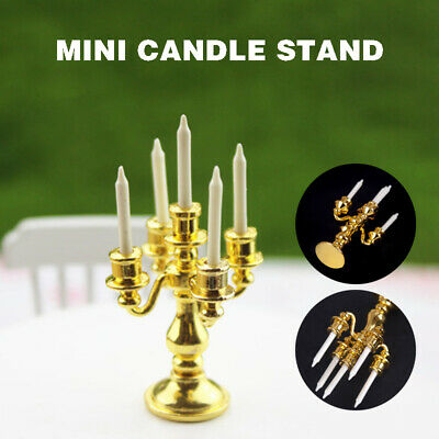 Miniature Gold Candelabra With 5 White Candles For Dollhouse Kitchen Decoraiton