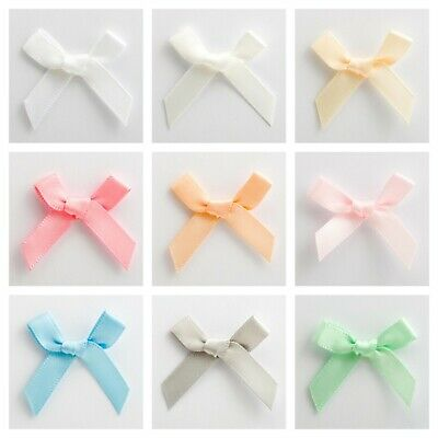 Small Mini Satin Ribbon Bows 3cm Pre-tied Neutral New Baby Shower Choice Colours