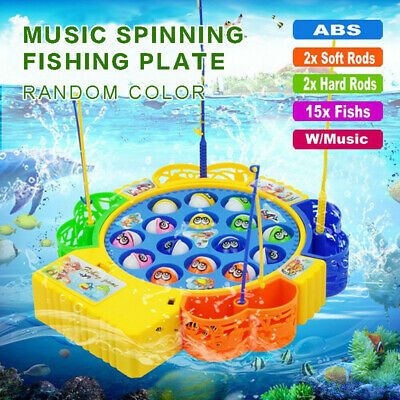 AU Electric Music Rotating Magnetic Fish Fishing Plate Game Kids Educational Toy