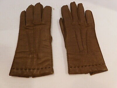 Gates Ladies Brown Pigskin Leather Winter Gloves Acrykic Knit Lining Size Small
