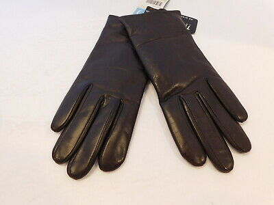 New! Relativity Ladies Brown Leather Winter Gloves Polyester Lining Size Small