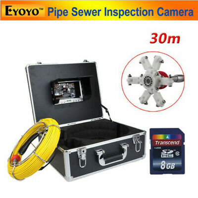 """8GB 30M Sewer Waterproof Camera Pipe Pipeline Drain Inspection 7"""" LCD DVR ST15"""