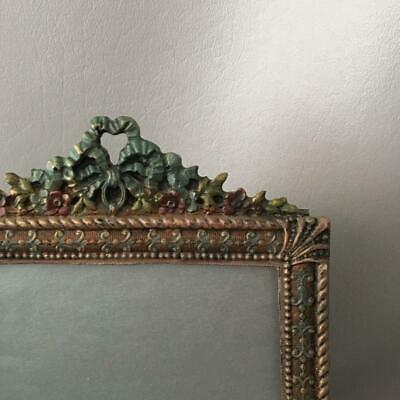 Antique Vtg Empire Bow & Ribbons Cold? Painted Cast Iron Table Top Picture Frame
