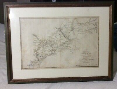 Real 1776 1777 Map of Delware River Monmouth NJ into Maryland from a French Book