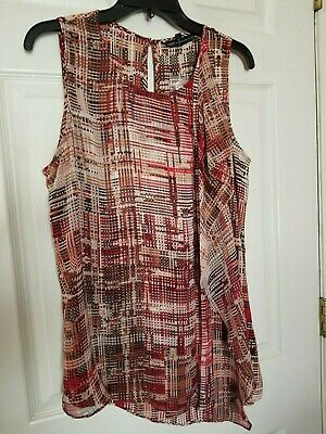 NWOT WHITE HOUSE BLACK MARKET Womens Sz M  BROWN Weave Scarf Top Casual Career