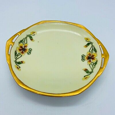 Altrohlau MZ CMR Czechoslovakia Cabinet Display Plate Gold Hand Painted Signed